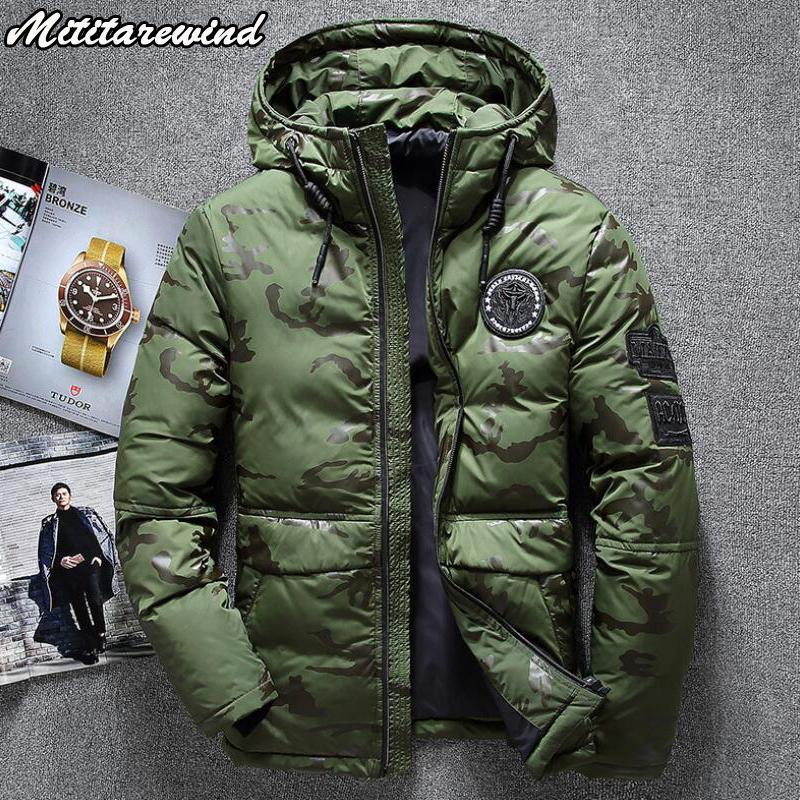 -20 Degree Winter Men Outdoor Waterproof Camouflage Hooded Collar Windbreaker Thick Keep Warm Down Parkas Jacket