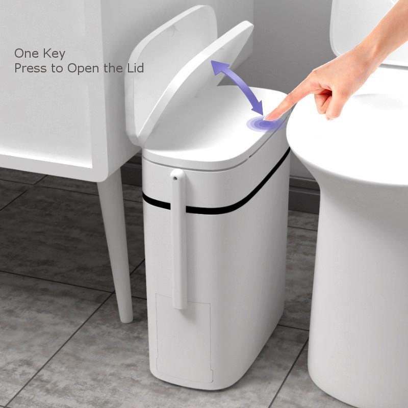 14L inteligente Trash Can Banho Zero Waste Bin One Key Garbage Bin Trash saco titular na cozinha w / escova de WC Seam Narrow