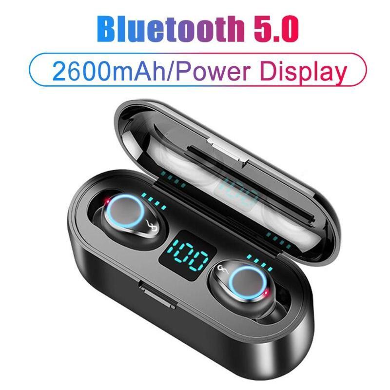 Nouveau F9 vrai casque sans fil Bluetooth 5.0 TWS écouteurs 2600mAh cas de charge 8D de casques stéréo avec double affichage MIC Led