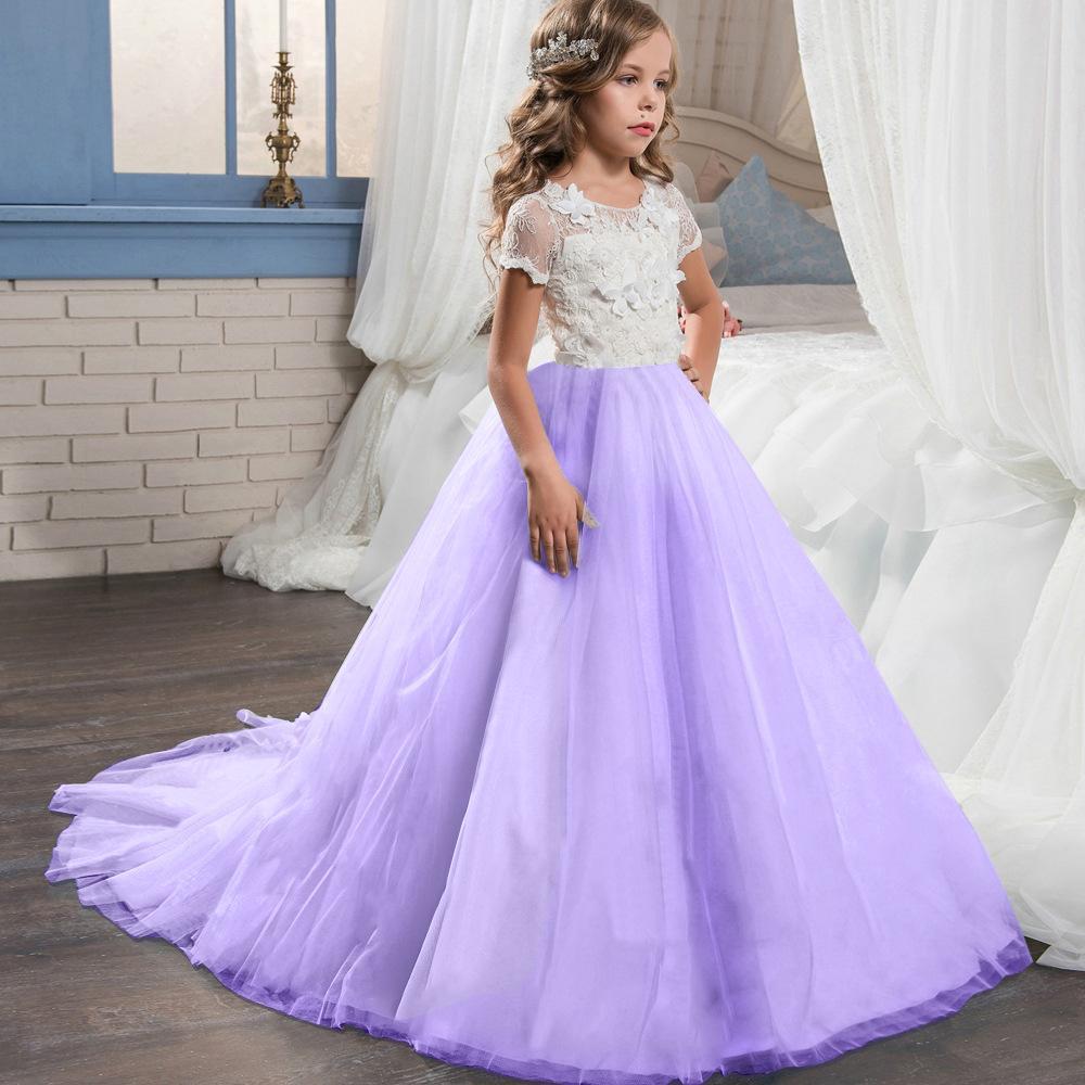 Vestido de las muchachas del vestido vestido de boda del vestido del Bowknot de los niños vestidos para niñas fiesta de cumpleaños elegante de manga corta fiesta de la princesa cordón de los niños