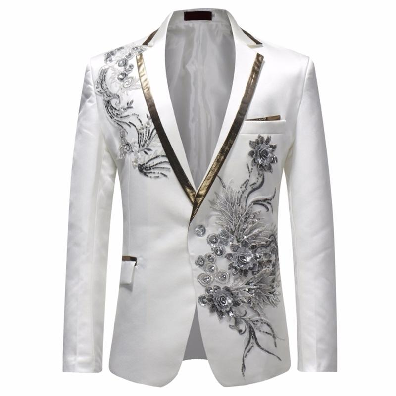 Homem Solteiro Breasted Slim Fit Suit Jacket Men Estilo Vintage Floral Imprimir Moda Festa Blazer Homens Plus Size Moda Jacket 201104