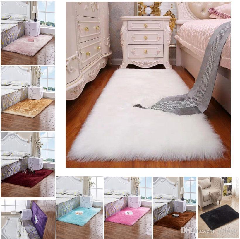 Imitation Wolle Teppich Plüsch Wohnzimmer Schlafzimmer Pelz-Wolldecke waschbare Sitzpolster Fluffy Teppiche 40 * 40cm 50 * 50cm weichen Teppich