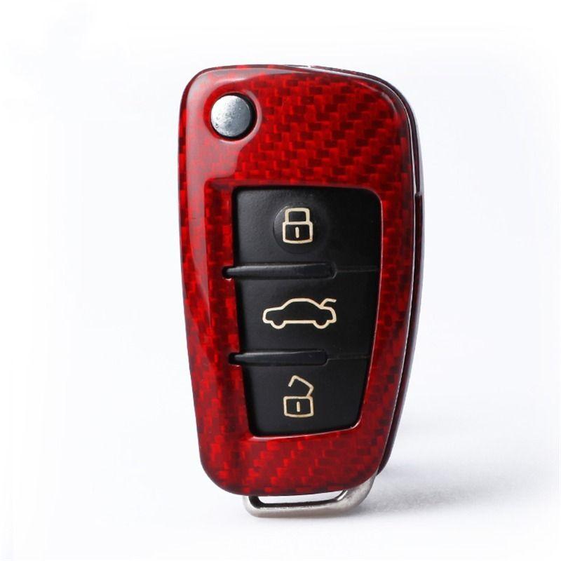 Audi Q3 / A3 / A1 / S3 Araba Anahtarı Durumda R8 / TT / Q7 / A6L Q2L Karbon Fiber Anahtar Kabuk Toka