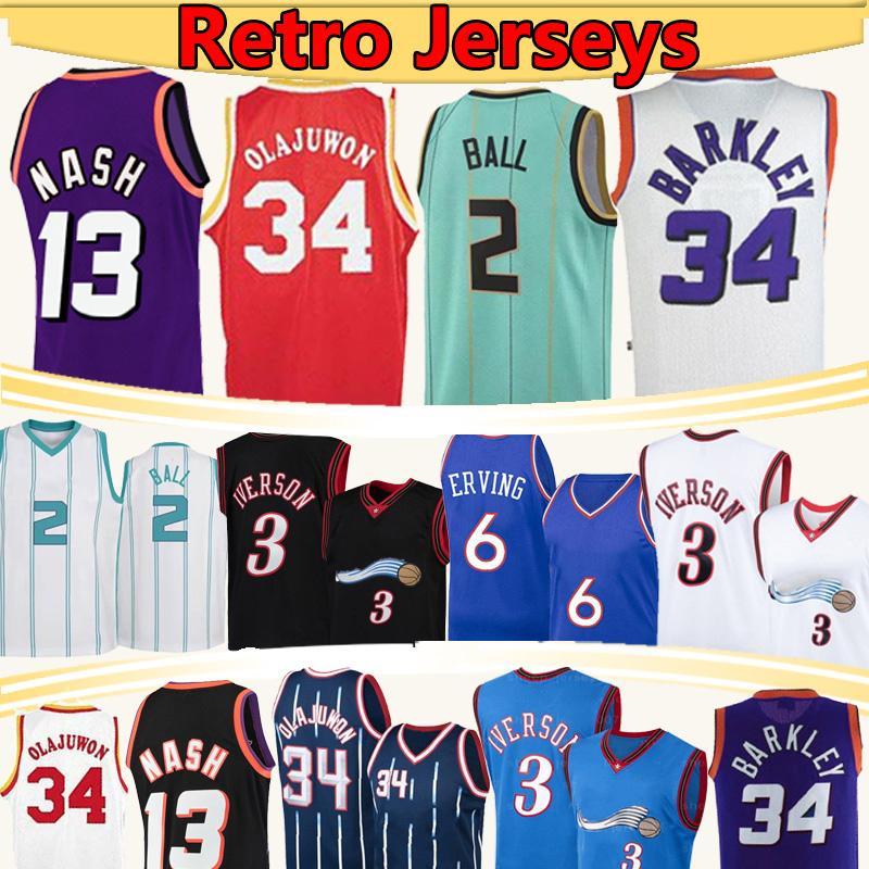 2 공 34 Olajuwon 34 Barkley Jersey 13 Nash Allen 3 Iverson Hakeem 6 Retro Basketball Jerseys