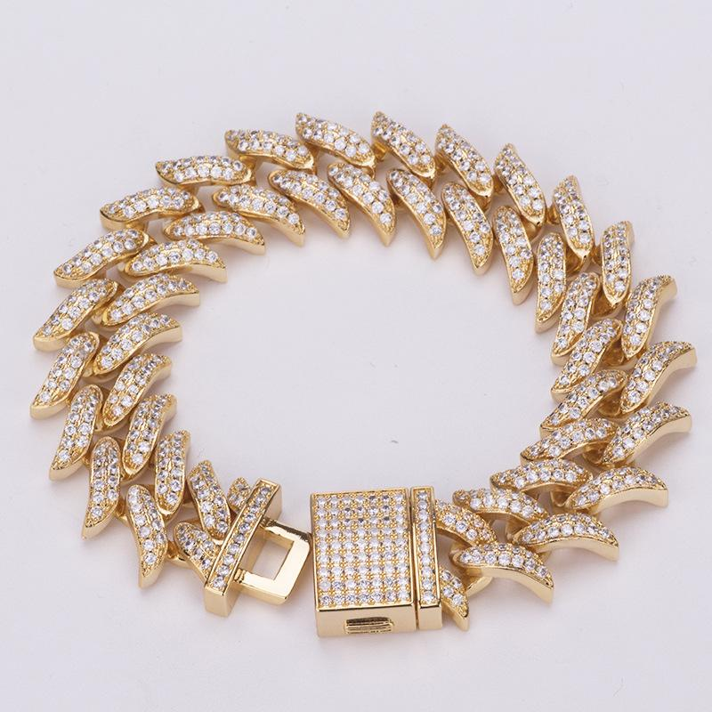 european and american 18mm Miami thorn cuba bracelet bling bling hip hop necklace full of diamond bracelet Mens Bracelet jewelry
