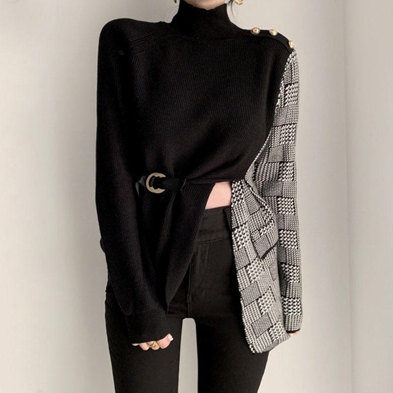 [EWQ] 2021 Новая Весна свободная черепаха шеи с длинными рукавами женщин пэчворк плед асимметричный кружевной пуловер вязаный свитер 8Q942