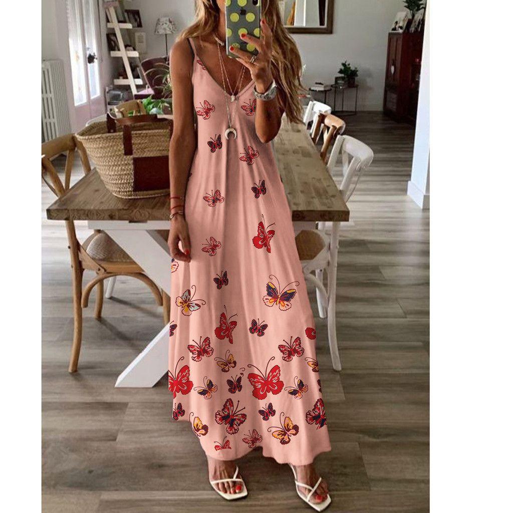 Sommerkleid Frau V-ausschnitt Schmetterlingsdruck Maxi langes Kleid Sexy Sleeveless Spaghetti Starp A Line Party Kleider Vestidos Mujer