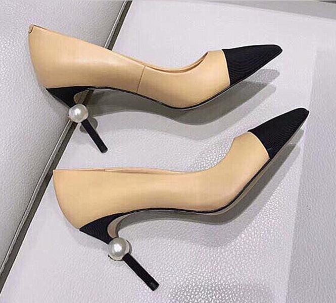 Sıcak satış-Tasarımcı Kadınlar goatskin Grogren Deri İnci Yüksek Topuklar OL Elbise Ayakkabı Lady Bej Beyaz Siyah Tek Ayakkabı pompaları