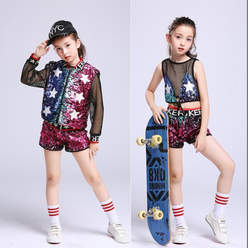 Bühnenverschleiß Mädchen Sparkly Jazz Dance Kostüme Pailletten Moderne Anzug Kind Stickerei Street Performance Outfits