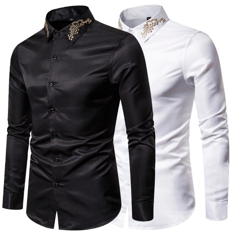 Chemises pour hommes Nouvelle mode Code européen Broderie imprimée Shirt à manches longues pour hommes occasionnels