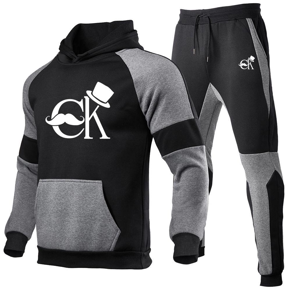 2020 Новые две части мода с капюшоном Sportswear Толстовка осенью бренд одежда Хаудяд + брюки мужской костюм