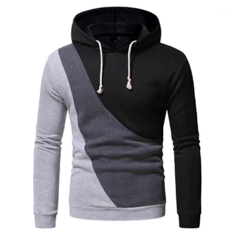 Tişörtü tasarımcı erkek bahar kapüşonlu yaka rahat kazak hoodies adam colorblocked hoodies moda trendi uzun kollu üç renkli kapüşonlu