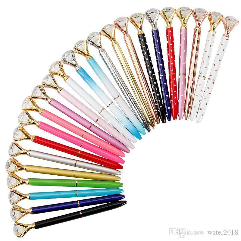 06Creative Crystal Glass Kawaii Kugelschreiber Großer Edelstein Kugelschreiber mit großen Diamanten 11 Farben Fashion School Office Supplies 362