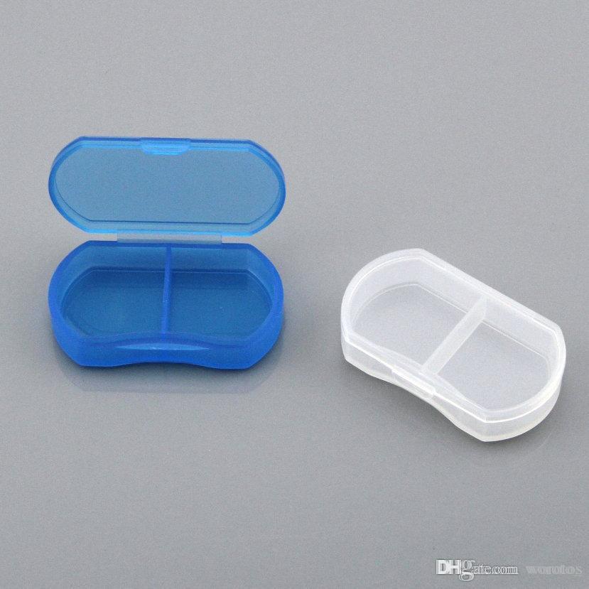 휴대용 여행 미니 플라스틱 알약 상자 의학 케이스 2 구획의 보석 비드 부품 주최자 스토리지 박스