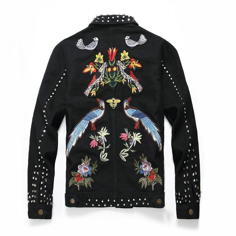 European Style Männer Slim Fit Jeansjacke Mode Rivet Stickerei Blumen Jacken für Männer Punk Jean Jacket Street Outwear
