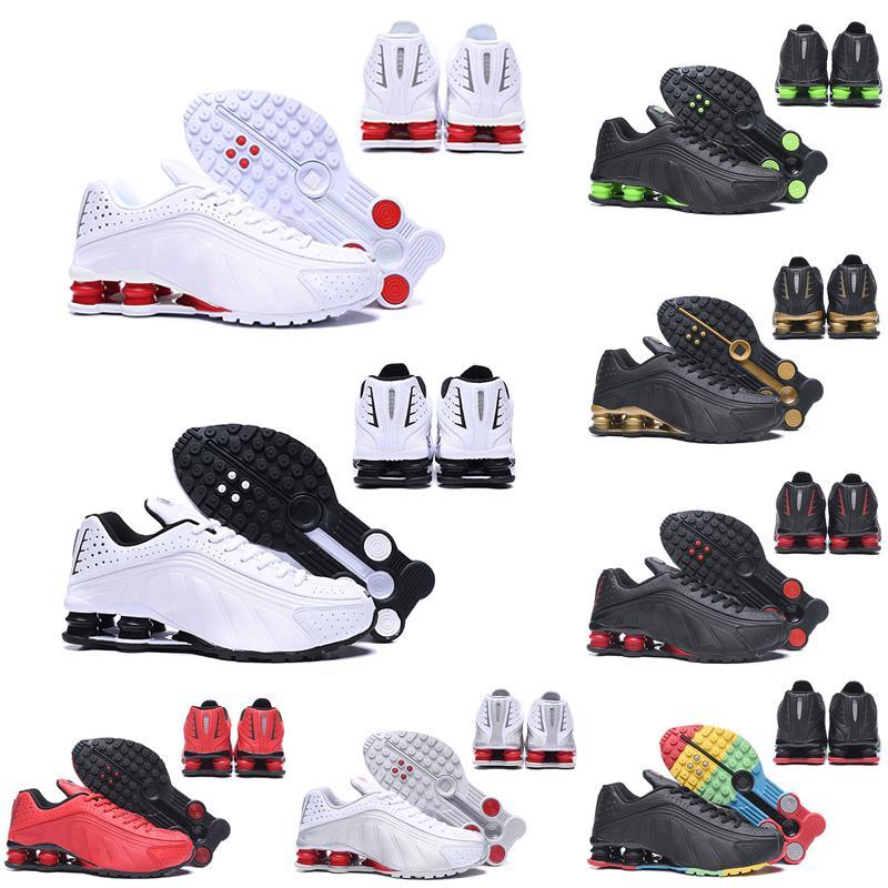 Shox R4 جديد 2020 يسلم الأحذية R4 لرجل المرأة الثلاثي الذهب الأسود الأبيض OZ NZ 301 حذاء رياضة رجل مدرب حذاء حجم 36-45