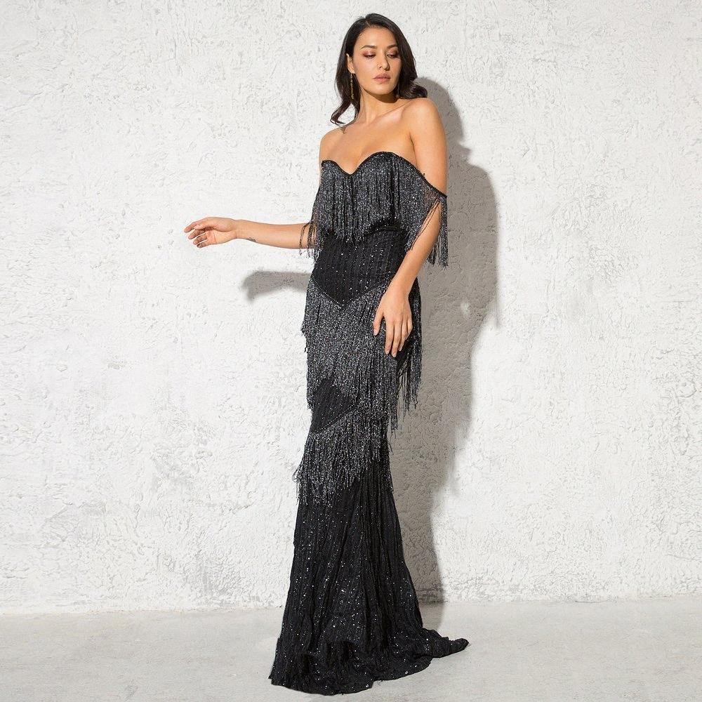 Glitter Patchwork Tassel Sexy Party Dress Off The Shoulder Glittered Maxi vestido sem alças elegante brilhante longo Vestidos Y200103 y9Jr #