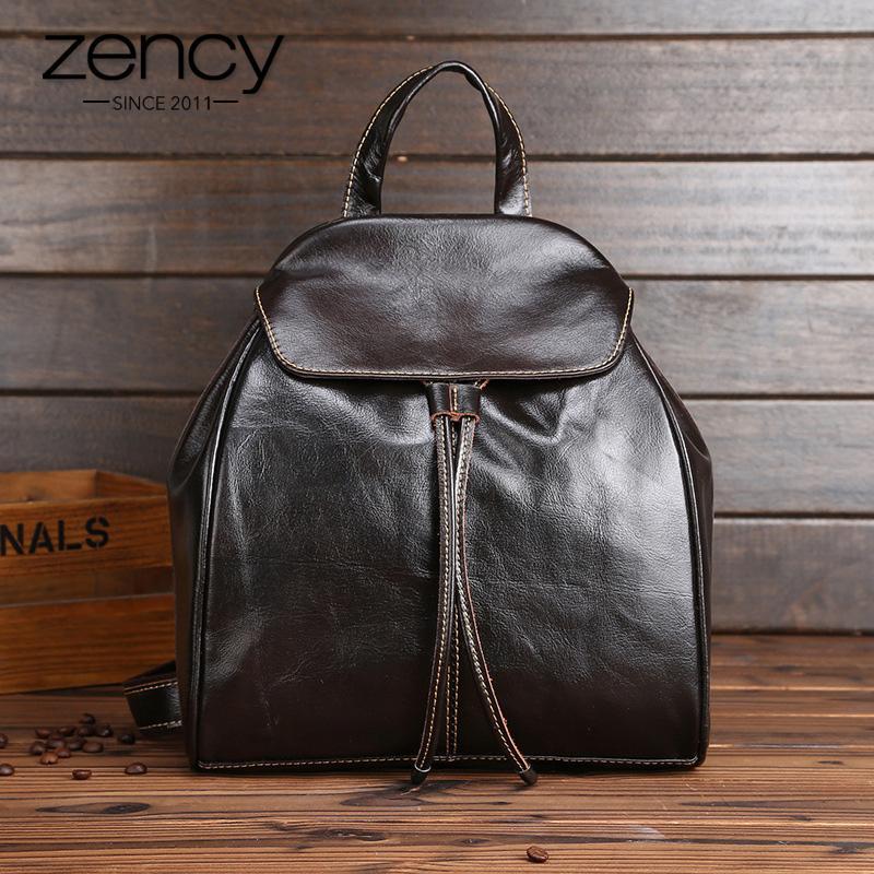 Zency 100% cuir véritable femmes hommes sac à dos sac vintage sac de voyage unisexe Daily Knapsack Preppy Style Schoolbag Stackels