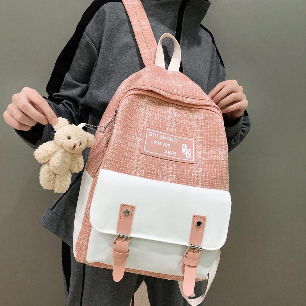Estudante fêmea bonito Linho Mulheres Moda School Girl Harajuku Kawaii mochila de lona Malha das senhoras boneca Bag Pingente C1003
