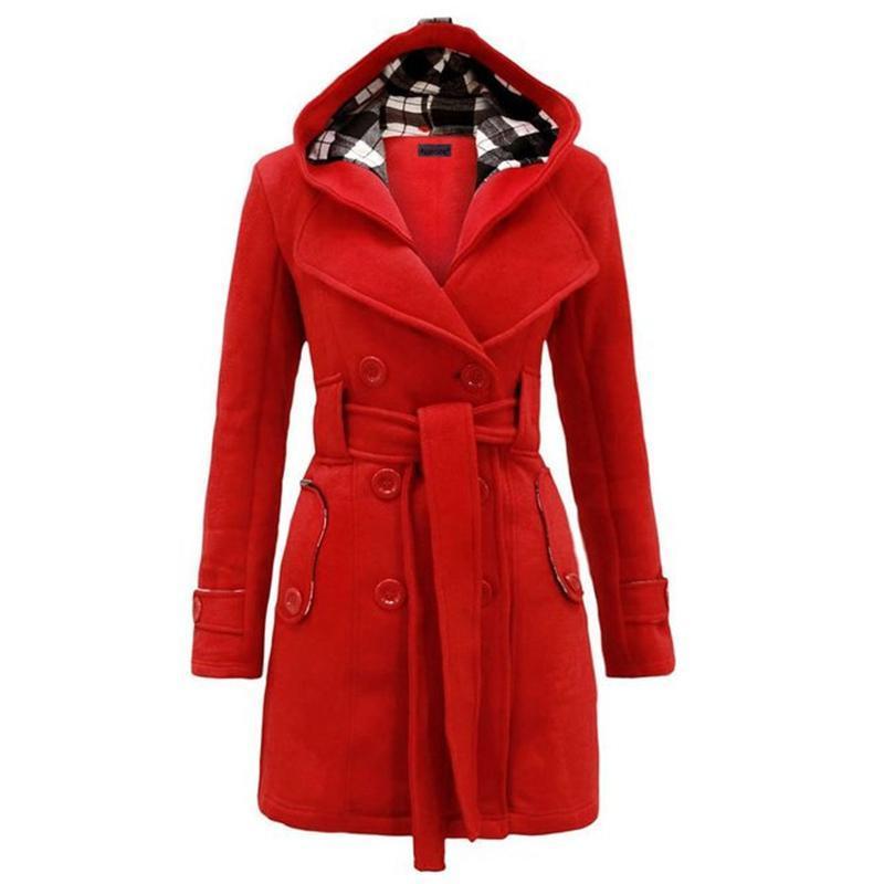 Kenancy 여성 모직 코트 겨울 두건 모직 블렌드 트렌치 코트 여성 긴 소매 더블 브레스트 오버 코트 슬림 벨트 재킷