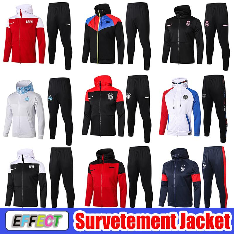 20 21 Long Sleeve Paris Soccer Hoodies Tracksuit Jacket Survetement 2020 2021 Marseille OM MBAPPE France Real Madrid Hooded Training Suit