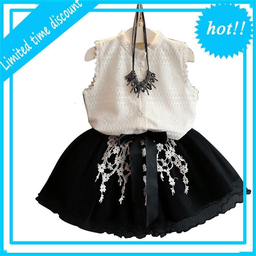 2-6 лет Девушки Летние Дети TUTU Мода Краговой Жилет + Цветок РОК Детская Одежда Комплекты