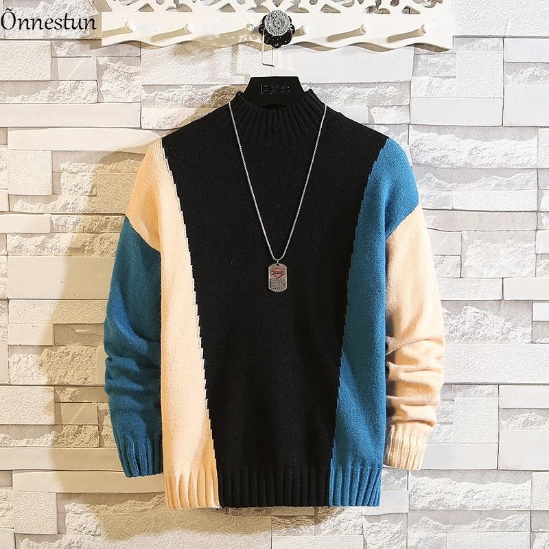 Onnestun turtleeneck свитер мужская одежда новая зима плюс размер свитер мужчина лоскутное упругость пуловер свитер мужчины 201125