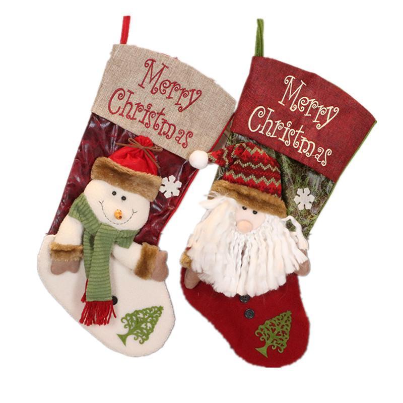 Быстрая доставка Креативный украшения рождественской елки Подвеска Рождественский чулок Рождественский вечер мешок подарка Большие конфеты носки F6202