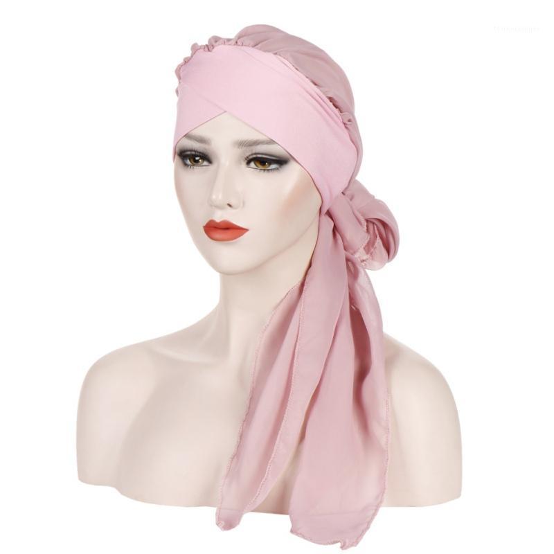 Beanie / Kafatası Kapaklar Kadınlar Şifon Şapka Müslüman Fırfır Kanseri Kemo Beanie Eşarp Türban İki Kuyruk Wrap Cap Günlük Koridor Giyim 1