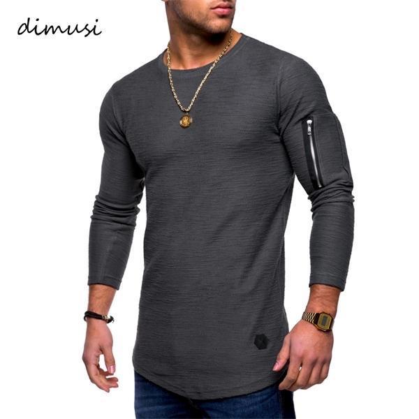 Sommermens-T-Shirts Männer Langarm-Shirt T-Shirt-Mode-Männer Zipper Hip Hop Streetsport Tops Bekleidung