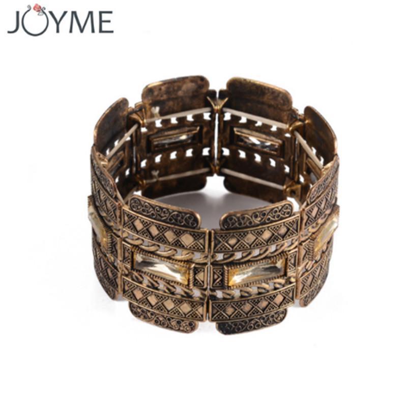 Turquía vendimia de elasticidad de hebra de los hombres de la pulsera de plata antigua del oro tibetana amplia gama de joyas brazalete para las mujeres