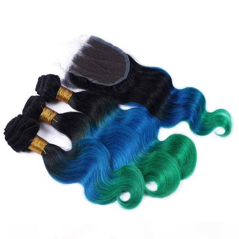 9A 1b bleu vert ombre péruvien cheveux cheveux 3bungs avec fermeture trois tons de couleur corporelle de corps péruvien cheveux humains avec une fermeture de dentelle 4x4