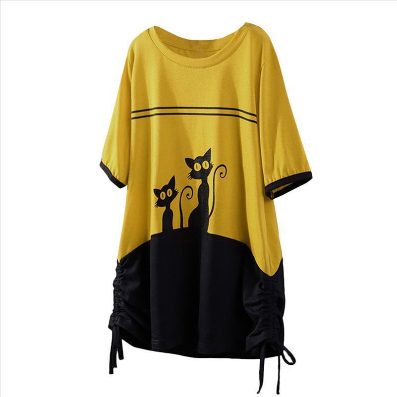 Femmes T-shirts Coucher Couture Cat Print Courte À manches courtes Rope O Cou Vogue Vogue Élégant Noble Summer T-shirt pour femmes