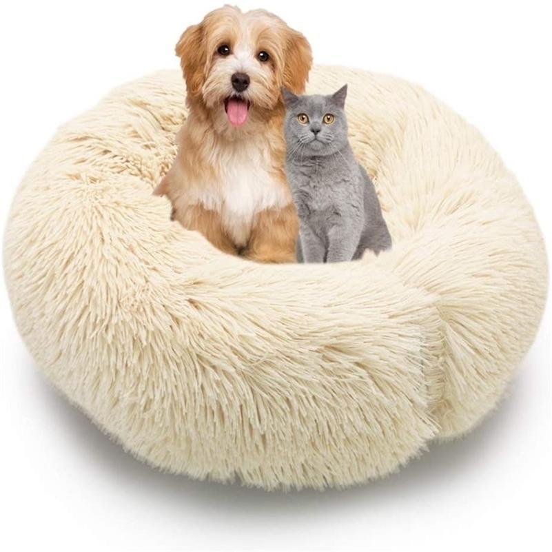 Животные диван круглый кошка кровать дома мягкая длинная плюша лучшая собака для собак для собак корзина для собак Pet Products подушка кошка PET кровать коврик Cat House LJ201201