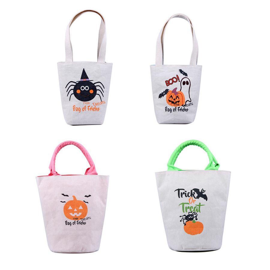 4 pz / set trattare il tagliente Trick Bag Halloween RRA3670 Borsa con maniglie Drogheria Tote o tela Doni di caramelle per lo shopping riutilizzabile per bambini Adult Fav SQHV