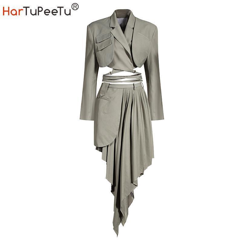 2020 otoño mujeres de la chaqueta traje de dos piezas vendaje corto tapa del estilo e irregular plisada mini falda más el tamaño Fit Fuego de negocios conjunto