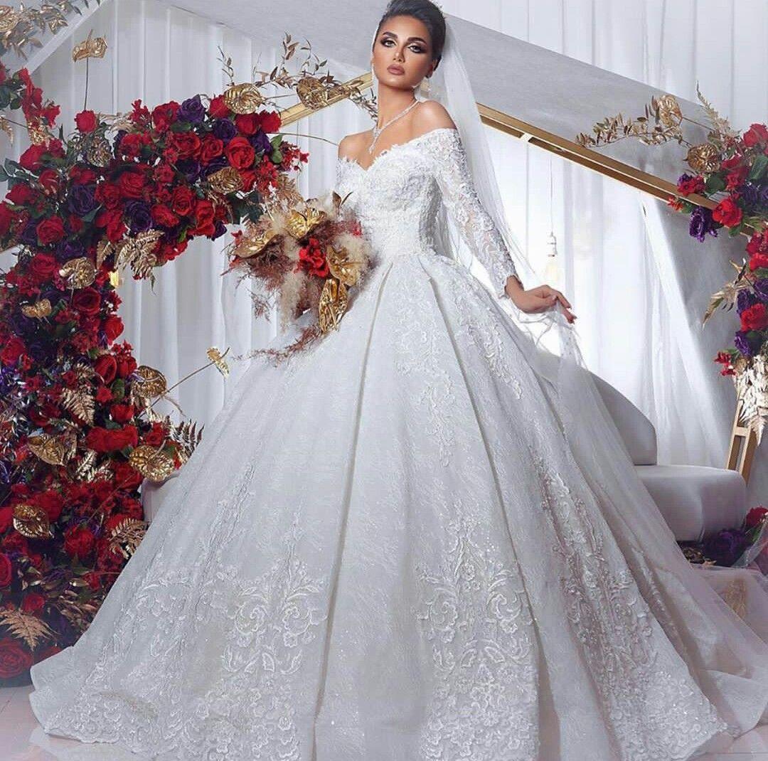 2021 Vestido de bola africanos Vestidos de novia Off Hombro Blanco Marfil de marfil Mangas largas Dubai Vestidos nupciales Barrido Tren Vintage Vintas de matrimonio