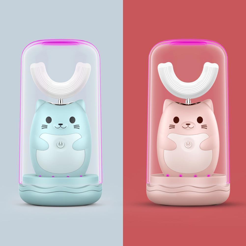 Мини портативные дети мультфильм милая автоматическая ультразвуковая зубная щетка трех зубчатостой скорость УФ дезинфекция электрическая зубная щетка W1219