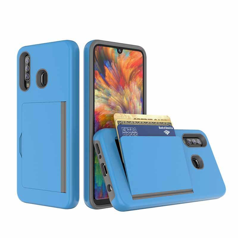 Dual Layer glatte, harte rückseitige Abdeckung für Samsung Galaxy A20 A30 A50 weiche innere Wallet Taschen-Kreditkarte ID Schutzhülle für Samsung S10