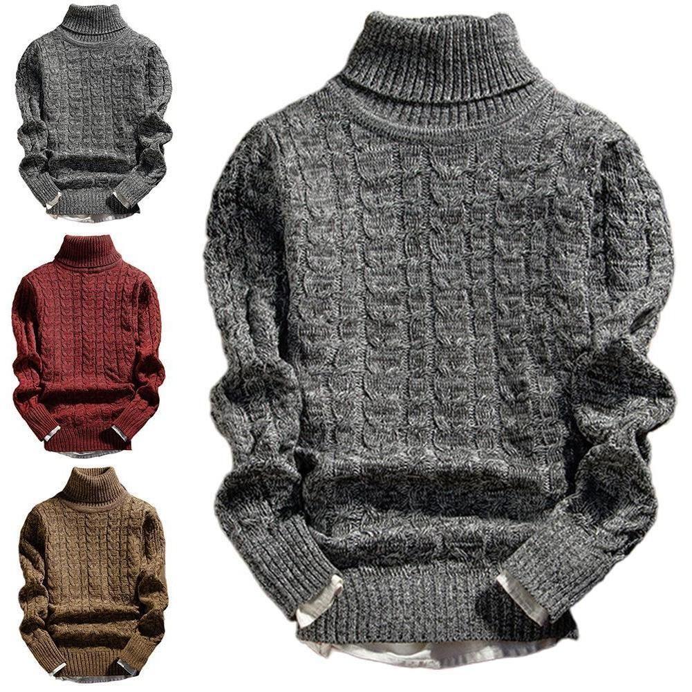 Hommes Couleur Solid Hiver Turtle à manches longues Twist Twist Braid Slim Sway Sweater Casual