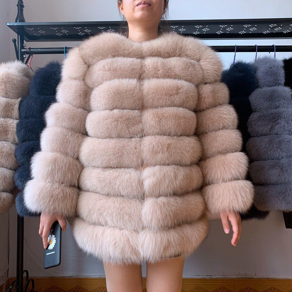 70см Настоящая зима Подлинная Природные Женщины с меховой жилет Девушка женщин Жилеты Фокс пальто DHL 201007