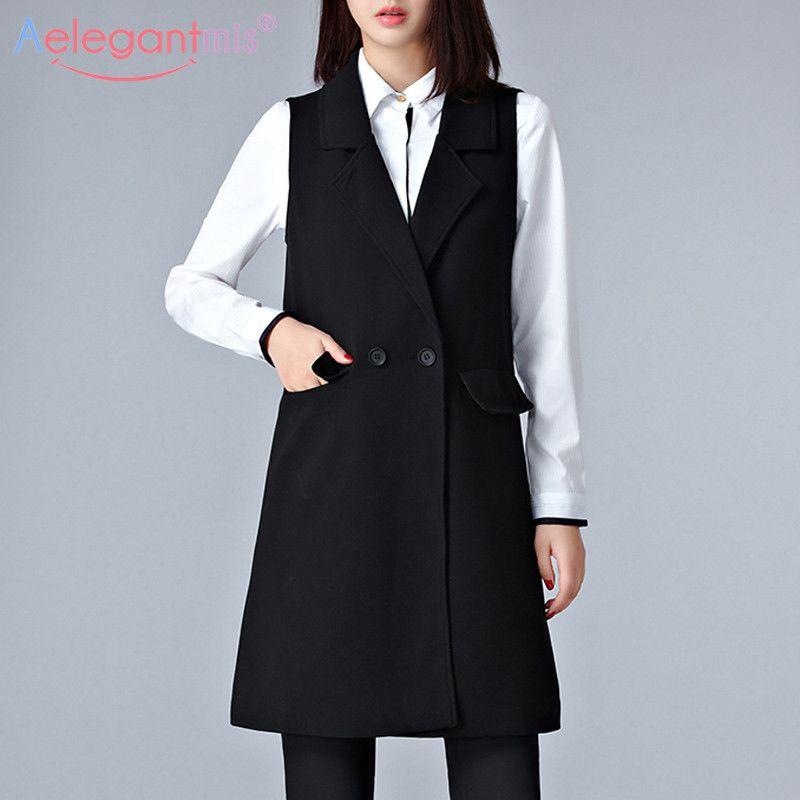 Casual Aelegantmis señora de la oficina Negro Largo capa de las mujeres elegantes del bolsillo del chaleco sin mangas chaquetas de vestir exteriores de las señoras delgado chaleco