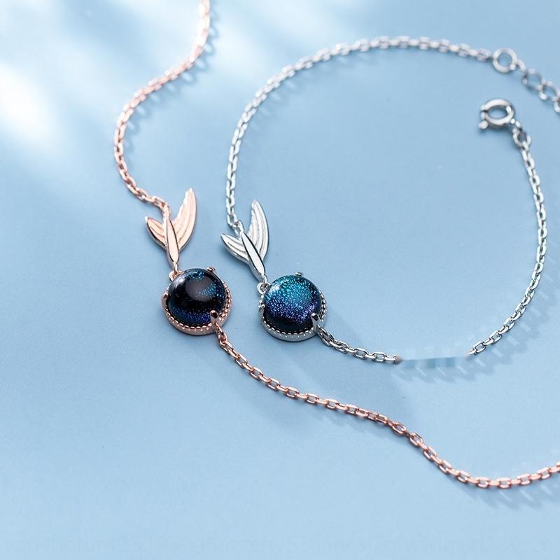Eloge S925 серебряный браслет женский японский простой корейский стиль и красивый синтетический синий кристалл темперамент рыбий хвост цепь браслет Crys