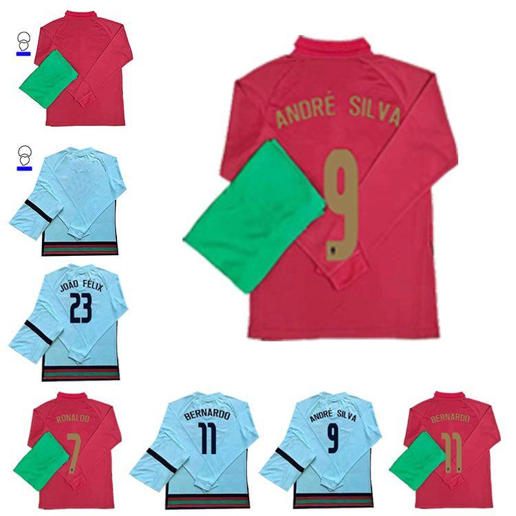 2020 Jersey de futebol Ronaldo Guerreiro Dias Guedes Silva Carvalho Fernandes 20 21 Manga Longa Home AwayHigh-Qualidade Football Shirt
