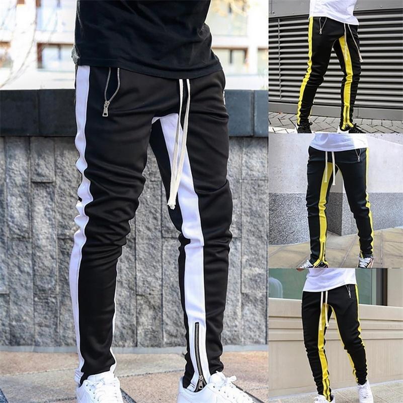 2020 남자 바지 조깅 남자 캐주얼 지퍼 스포츠 러닝 피트니스 바지 남성 체육관 스포츠 조깅 바지 야외 Streetwears LJ201217
