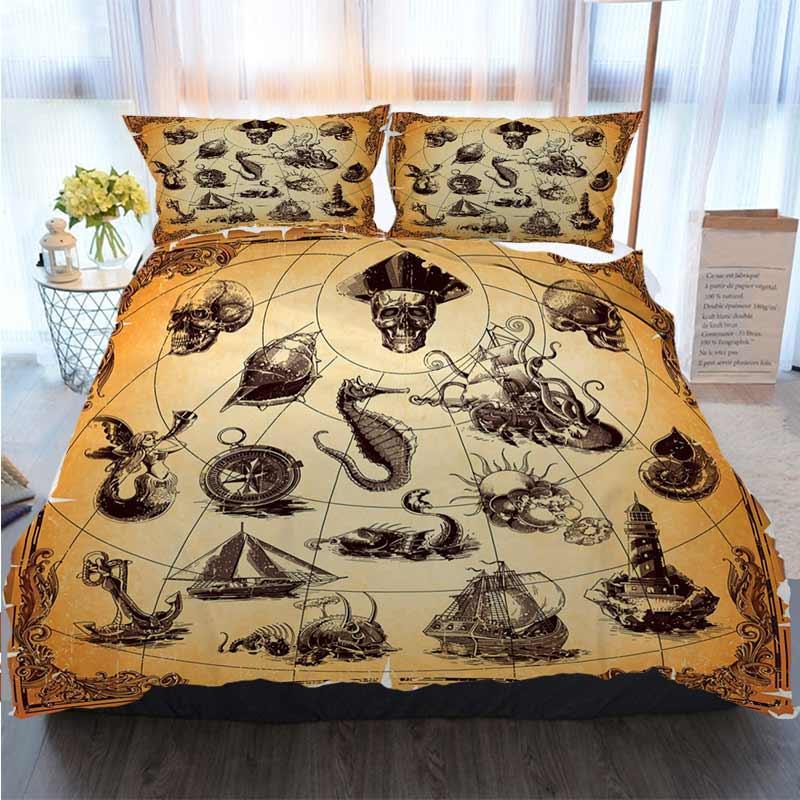 3pcs cama de algodão Set Super King Duvet Cover Set Náutico Vintage Old Map elemento de padrão capa de edredão Edredons Designer Cama Sets