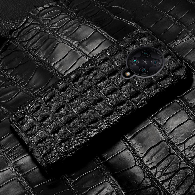 LANGSIDI luxe Crocodile téléphone cas pour Xiaomi MI 10 F2 POCO 9lite redmi K30 Note Pro 9s de couverture arrière en cuir véritable
