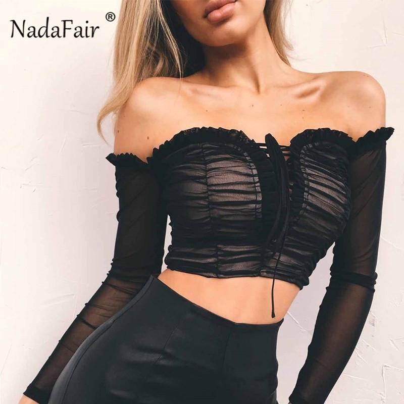 NADAFAIR SEXY VOLSA DE OFF SHOUTE STARNE TOP BLANCO BLANCO NEGRO Mujeres Tops y blusas Vendaje Vendaje de malla frontada Camisa femenina Y200402