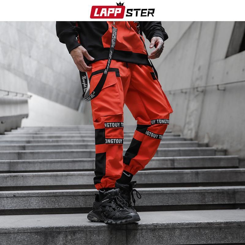 LAPPSTER Men Japanese Streetwear Hip Hop Joggers Pants 2020 Mens Military Function Sweat Pants Male Orange Punk Tactical Pants LJ201007
