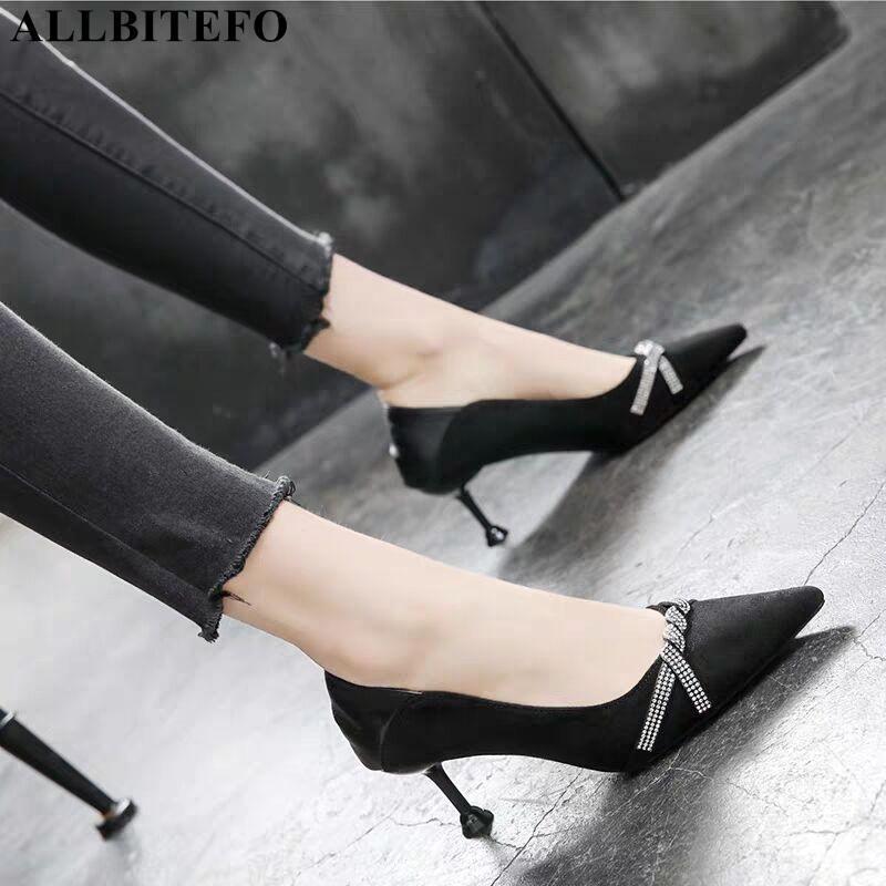 ALLBITEFO дизайн высокий горный хрусталь каблук обуви весна тонкий каблук удобный моды сексуальные женщины каблуки высокие каблуки насосы женщин обувь
